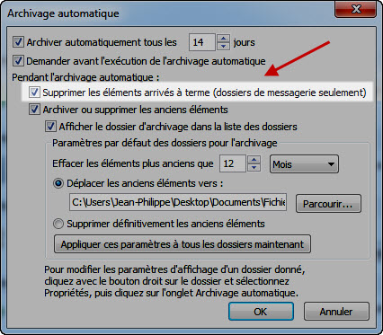 paramétrage Outlook de l'option archivage