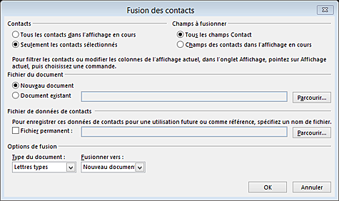 formation Outlook 2013 fusion publipostage
