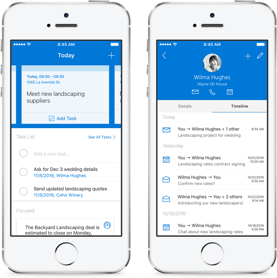 Outlook Customer Manager - smartphone