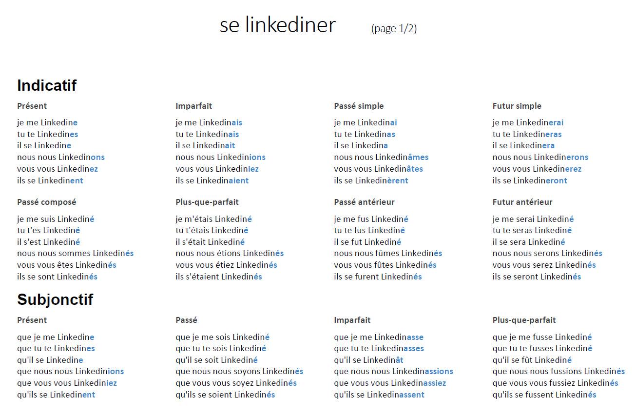 conjugaison verbe se Linkediner - page 1