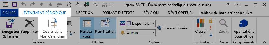 Indiquer les jours de grève SNCF 2018 dans son calendrier Outlook