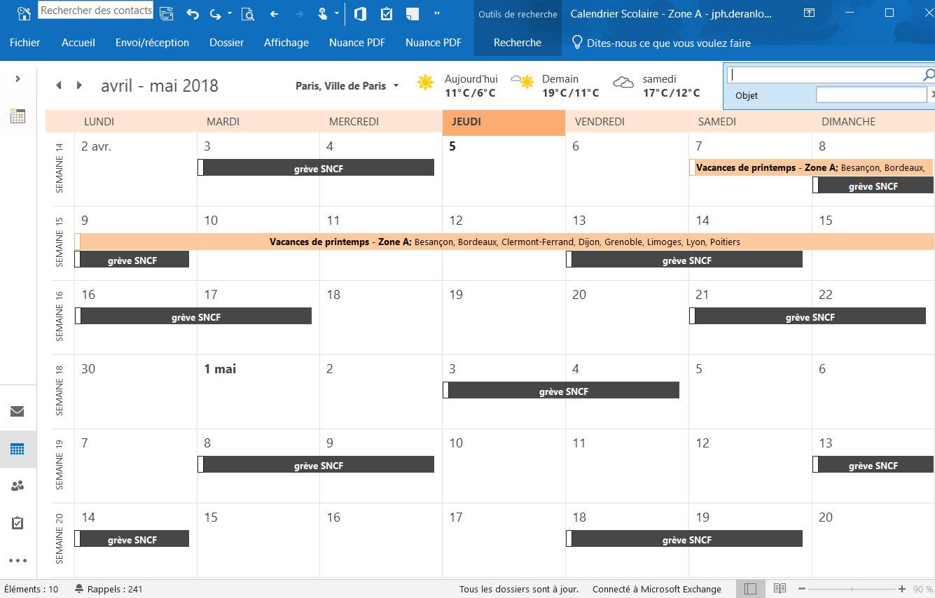 calendrier Outlook avec les jours de grève SNCF