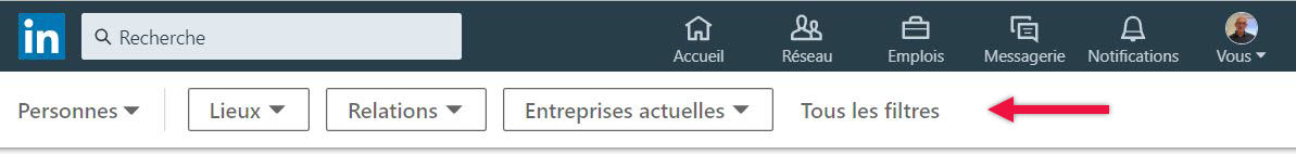 menu Linkedin de recherche contacts