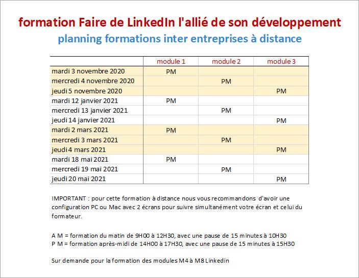 planning formations à distance LinkedIn inter entreprises