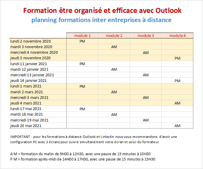 calendrier formaiton Outlook à distance